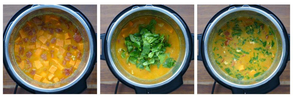 Instant Pot African Peanut Soup Instructions collage - cooked soup, add spinach, stirred