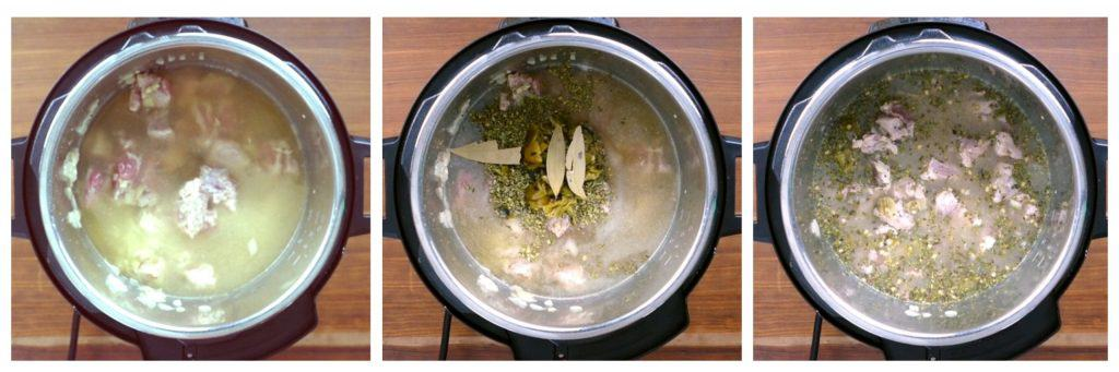 Instant Pot Pork and Hatch Chile Soup Instructions collage - broth added, spices added, stirred