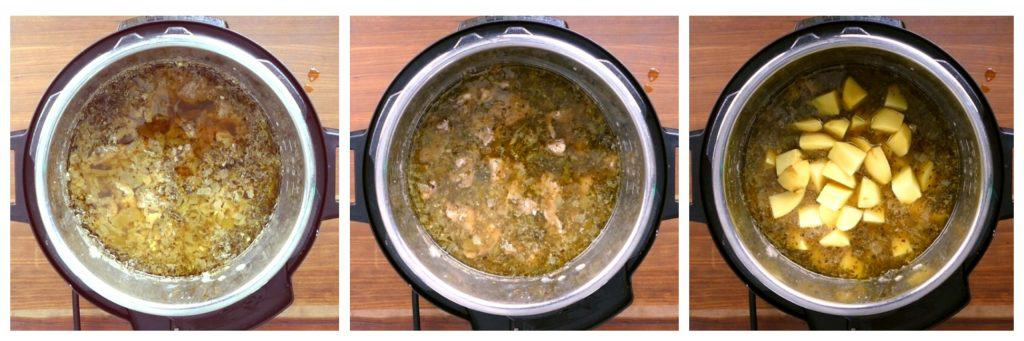 Instant Pot Pork and Hatch Chile Soup Instructions collage - cooked pork soup, stirred, potatoes added