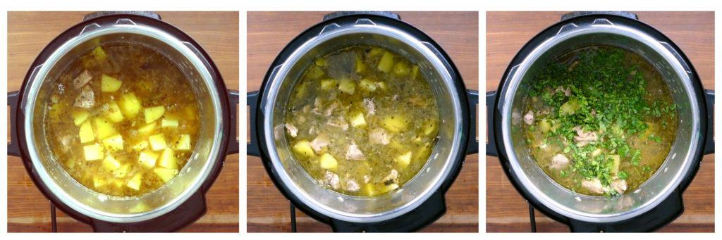 Instant Pot Pork and Hatch Chile Soup Instructions collage - cooked potatoes, stirred, cilantro added