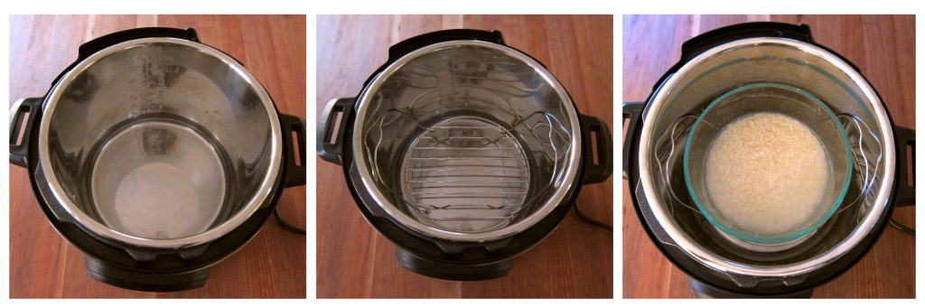 Instant Pot Pot Rice - Pot in Pot Method Instructions 2 - water in inner pot, trivet in water, bowl of rice on trivet - Paint the Kitchen Red