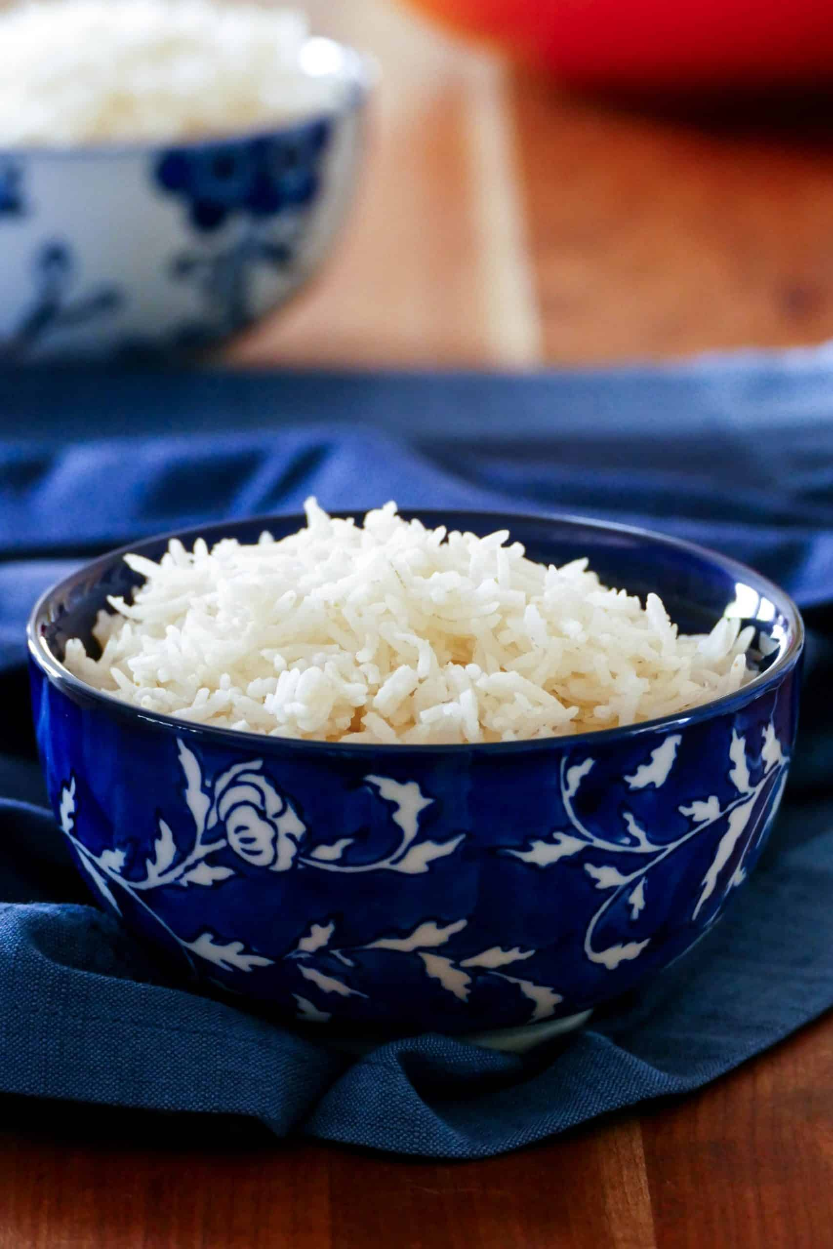Instant Pot Rice using pot in pot method - two bowls of white rice