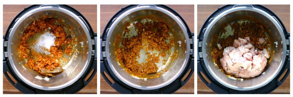 Instant Pot Chicken Korma Instructions collage - spices added, stirred, chicken added