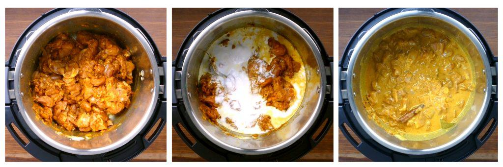 Instant Pot Chicken Korma Instructions collage - chicken and spiced stirred, coconut milk added, stirred