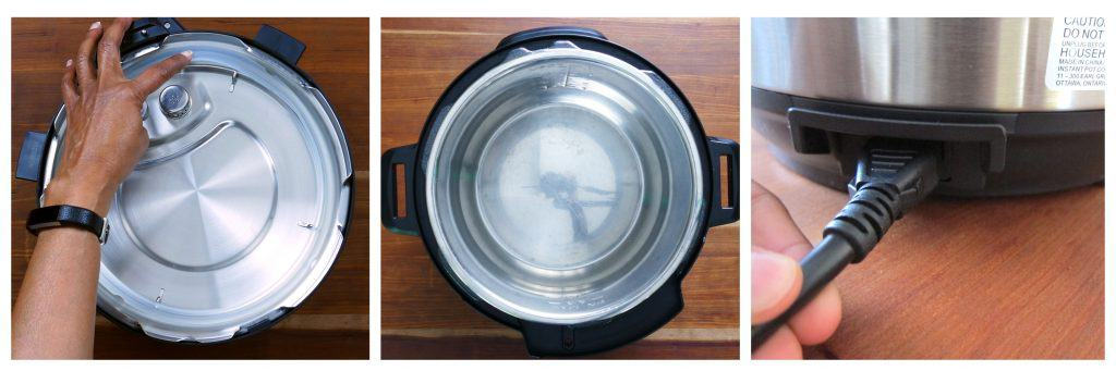 Instant Pot water test collage - push sealing ring in, inner pot in base unit, plug attached