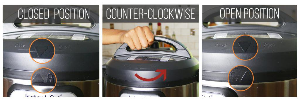 Open Instant Pot collage - arrow on lid lined up with closed lock, turn lid counter clockwise, arrow lined up with open lock