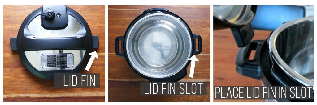 Prop Instant Pot lid open collage - arrow showing fin, arrow showing slot, fin being placed in slot