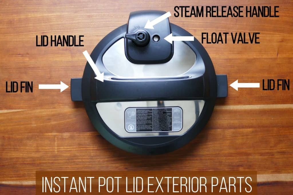 Instant Pot Duo lid exterior parts - lid handle, lid fin, steam release assembly, float valve, quick release switch, lid fin, quickcool cover - Paint the Kitchen Red