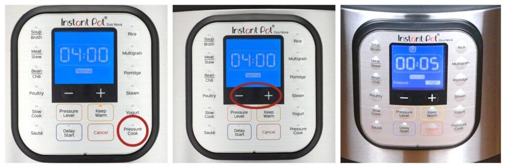 Instant Pot Duo Nova press pressure cook, minus plus, display says 0005