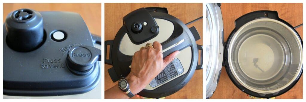 Instant Pot Duo Nova water test complete collage- float valve down, open lid, prop open