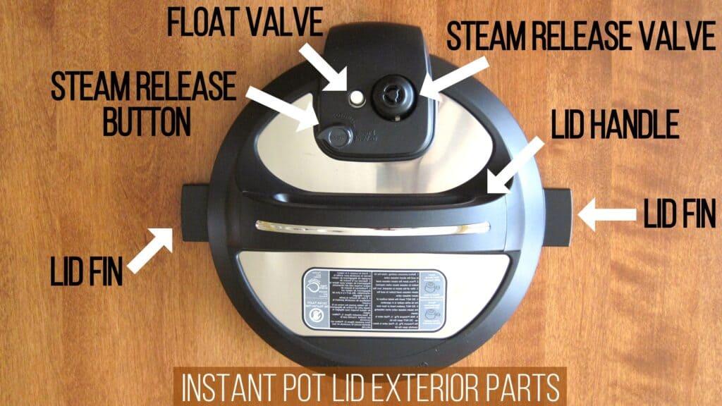 Instant Pot Duo lid exterior parts - lid fin, steam release button, float valve, steam release valve,lid handle, fin