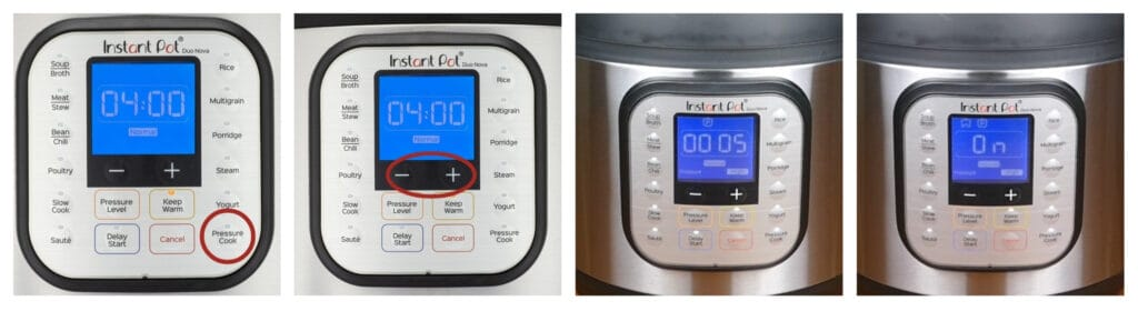 Instant Pot Duo Nova press pressure cook, minus plus, display says 0005, says On