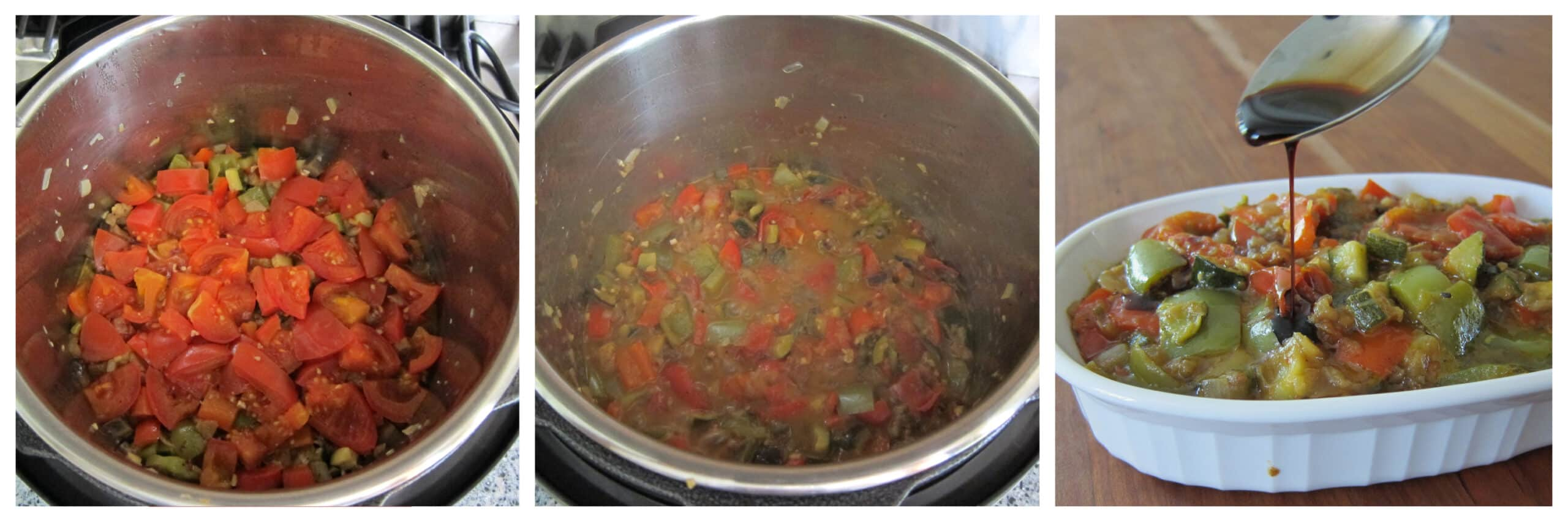 Instant Pot Ratatouille Instructions collage - vegetables cooked, stirred, drizzle balsamic vinegar
