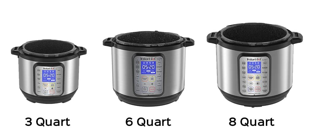 Three Instant Pot sizes side by side - 3, 6 and 8 quart - model duo plus