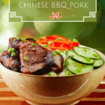 Instant Pot Char Siu - Chinese bbq pork in a bowl with rice, cucumbers and bell peppers pinterest pin