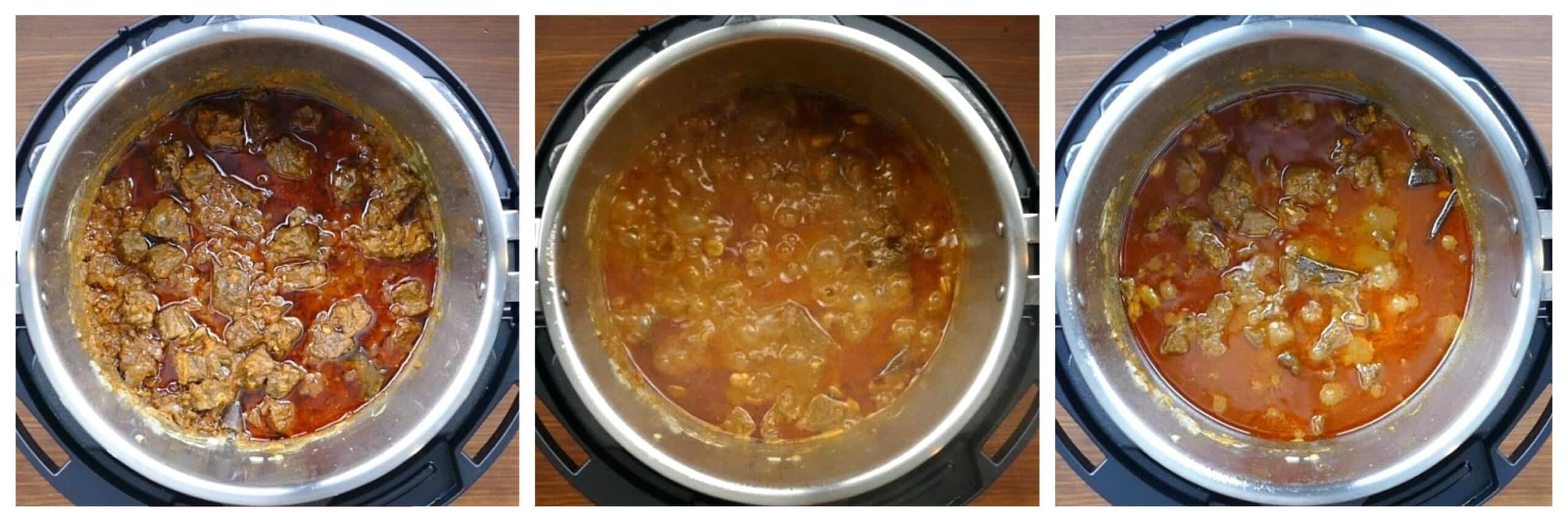Instant Pot Rogan Josh Instructions collage - cooked curry, boiling, reduced