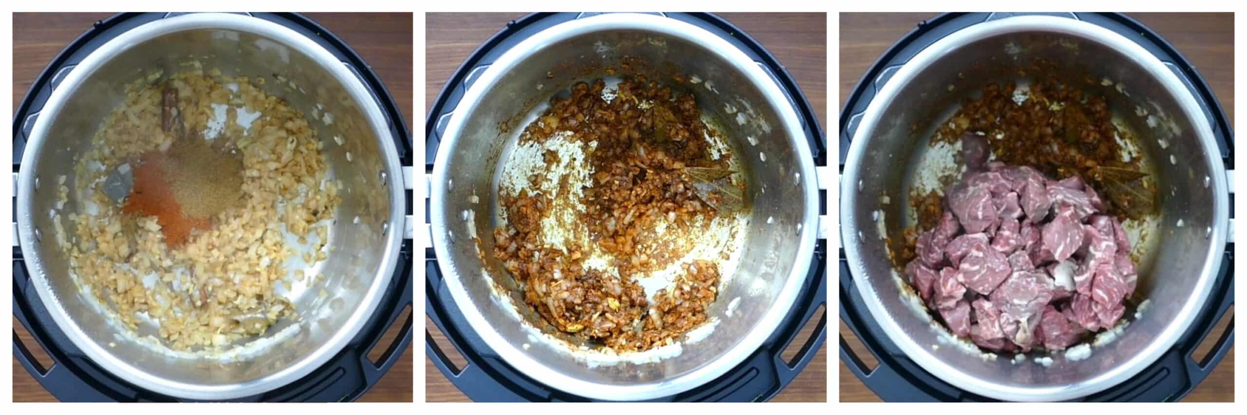 Instant Pot Rogan Josh Instructions collage - spices added, onions and spices stirred, lamb added