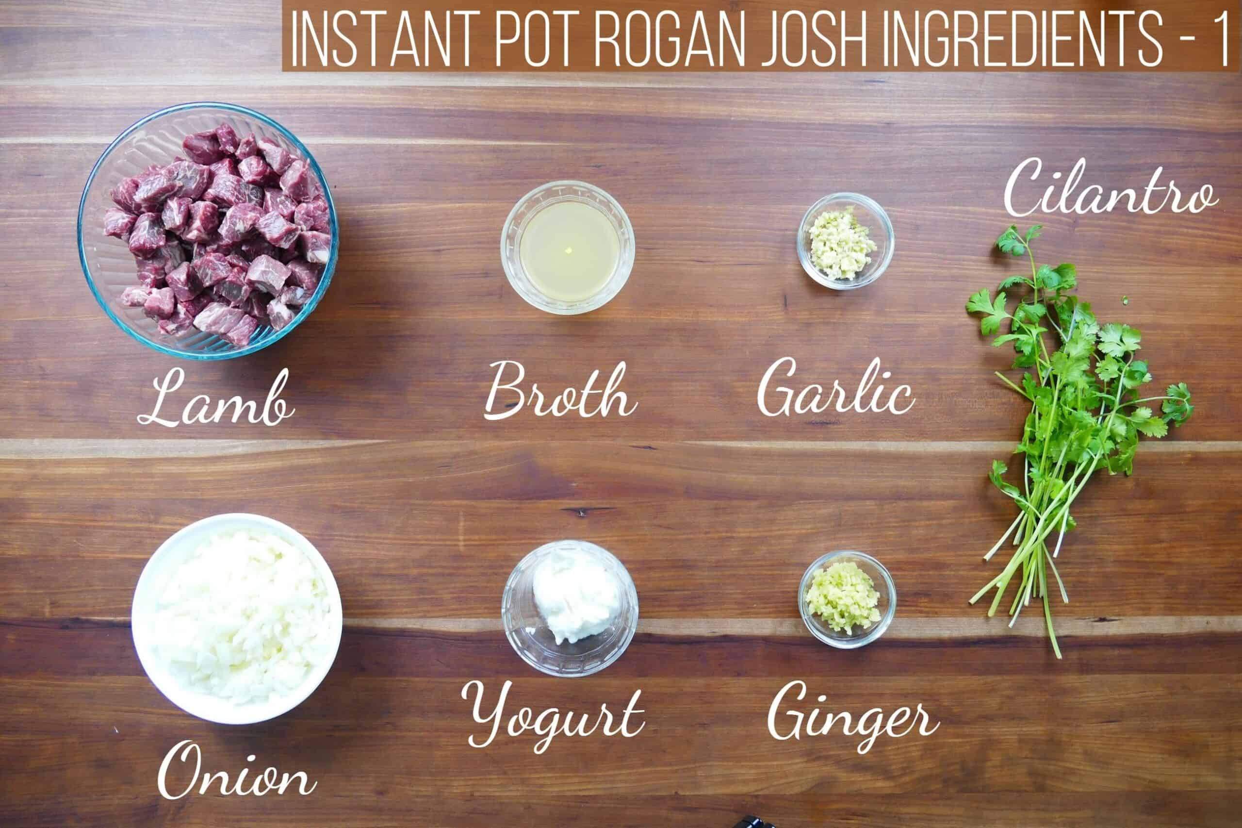 Instant Pot Rogan Josh ingredients - lamb, broth, garlic, onion, yogurt, ginger, cilantro