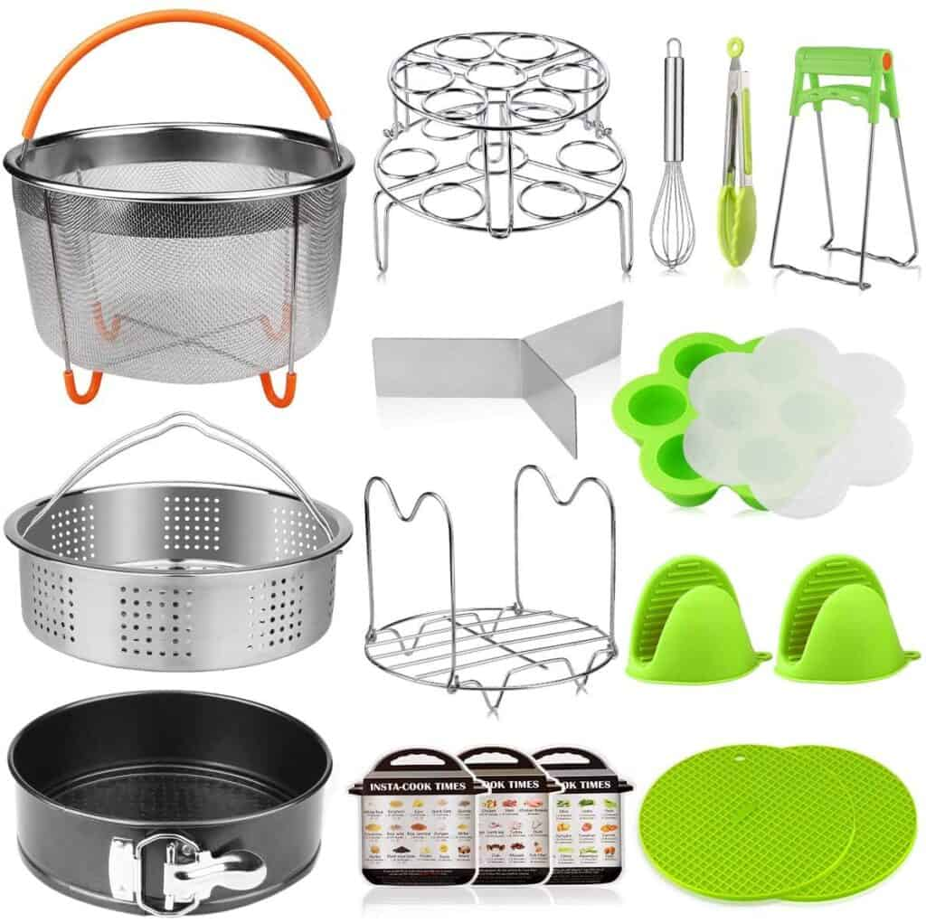 Instant Pot accessory set - mesh steamer basket, springform pan, steamer basket with divider, egg mold, egg steamer rack, silicone kitchen tong, dish clip, steam rack trivet , whisk, oven mitts, silicone mats, magnetic cheat sheets