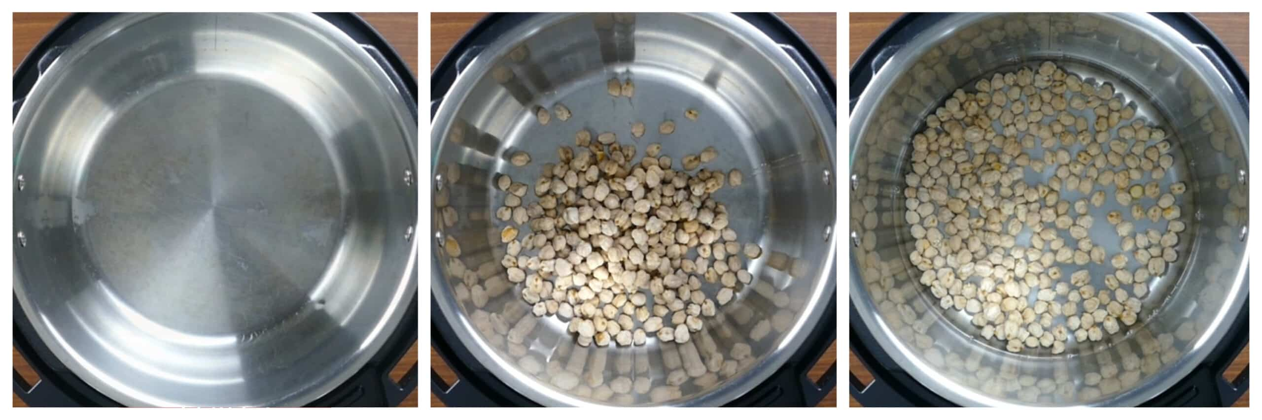 Instant Pot Chickpeas Instructions collage - empty inner pot, chickpeas added, water added