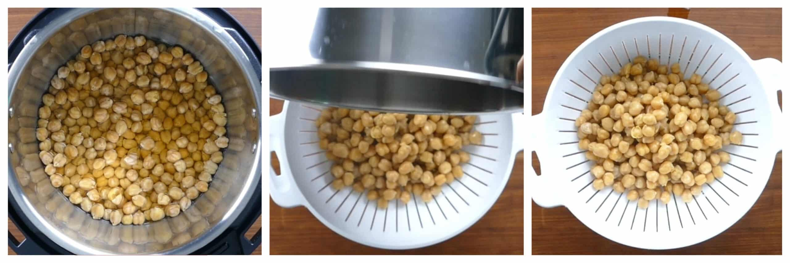 Instant Pot Chickpeas Instructions collage - cooked chickpeas in water, being drained, drained into collander