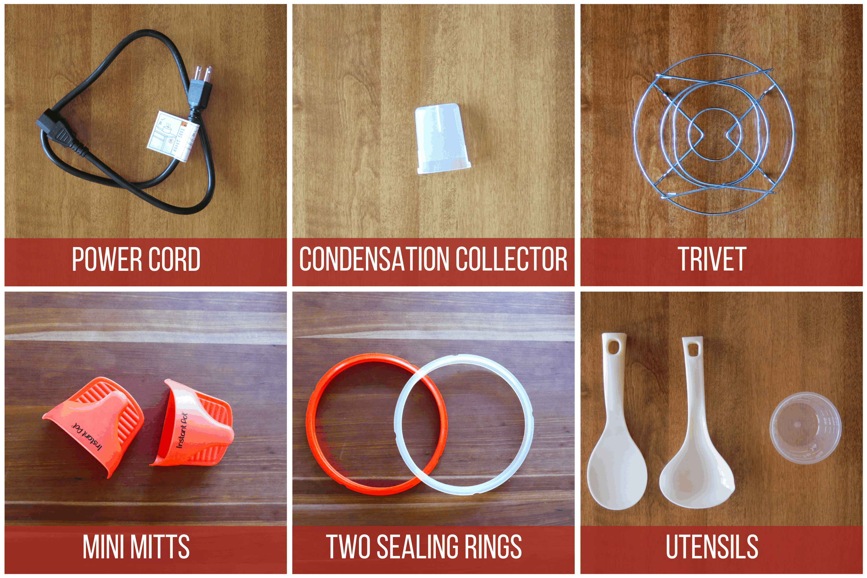 Instant Pot Duo Gourmet Accessories -power cord, condensation collector, trivet, mini mitts, two sealing rings, utensils