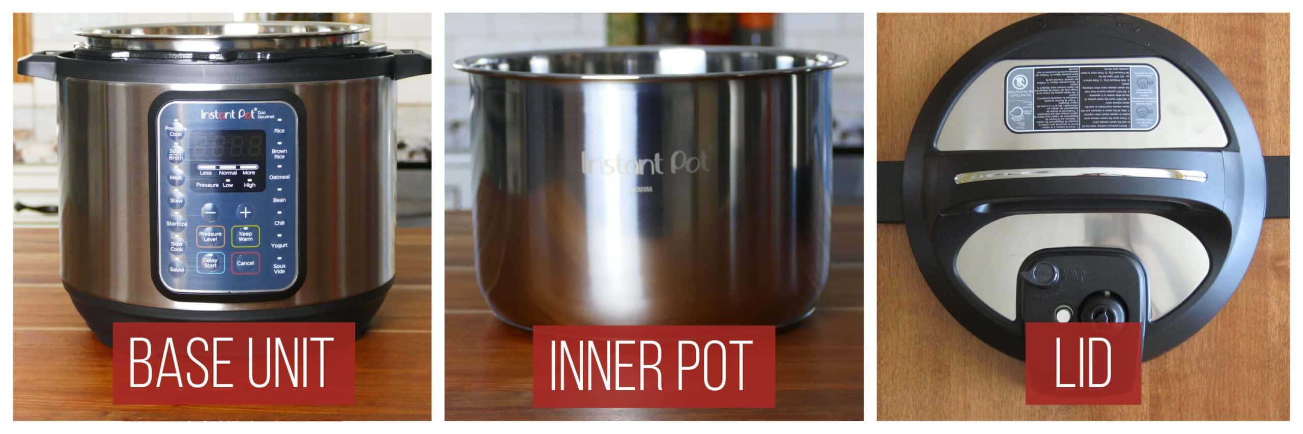 Instant Pot Duo Gourmet Parts collage - base unit, inner pot, lid