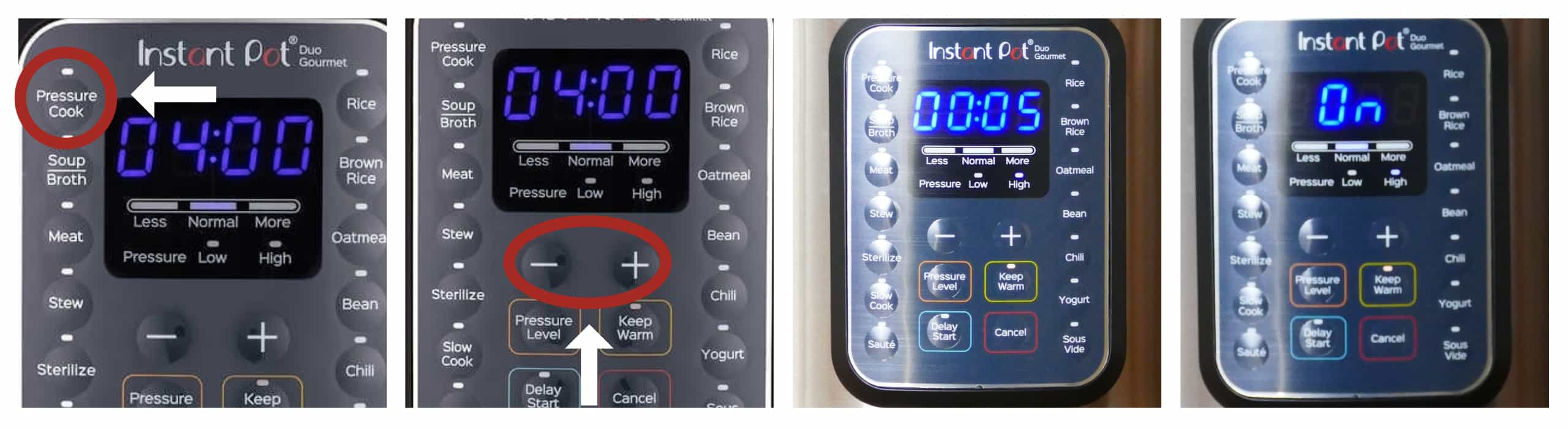 Instant Pot Duo Gourmet Water Test - press Pressure Cook, plus or minus, display changes to 00:05, then to On