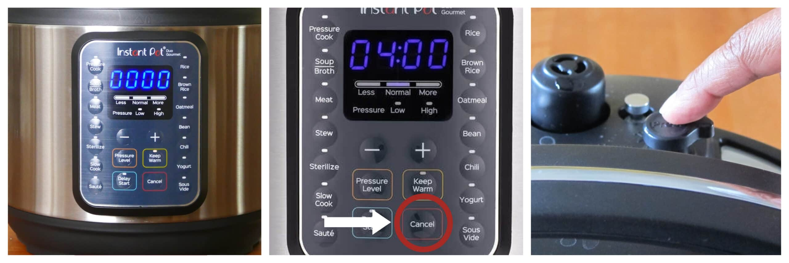 Instant Pot Duo Gourmet display says 0000 cancel pressure steam release button