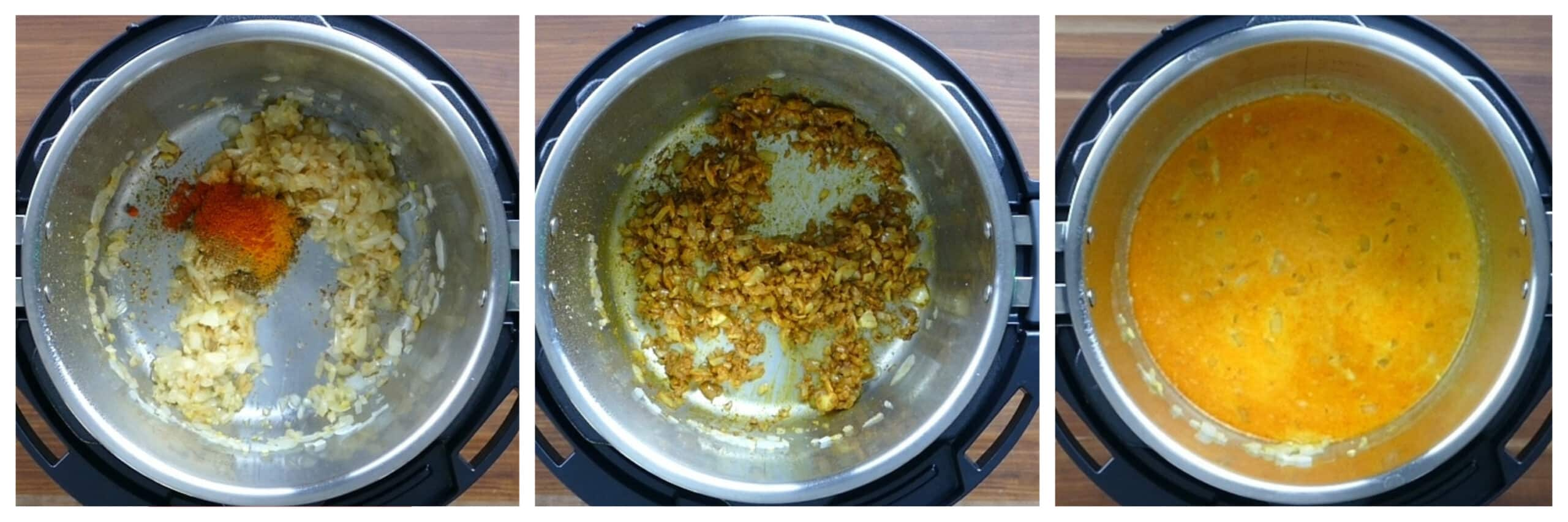 Instant Pot Curried Risotto Instructions - spices, stirred, liquids added
