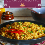 Instant Pot Curried Risotto Pinterest pin with chickpeas garnished with cilantro
