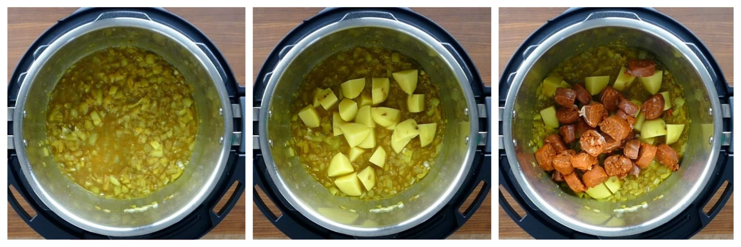 Instant Pot Chorizo and Potato Instructions 3 collage - broth added, potatoes added, sliced chorizo added