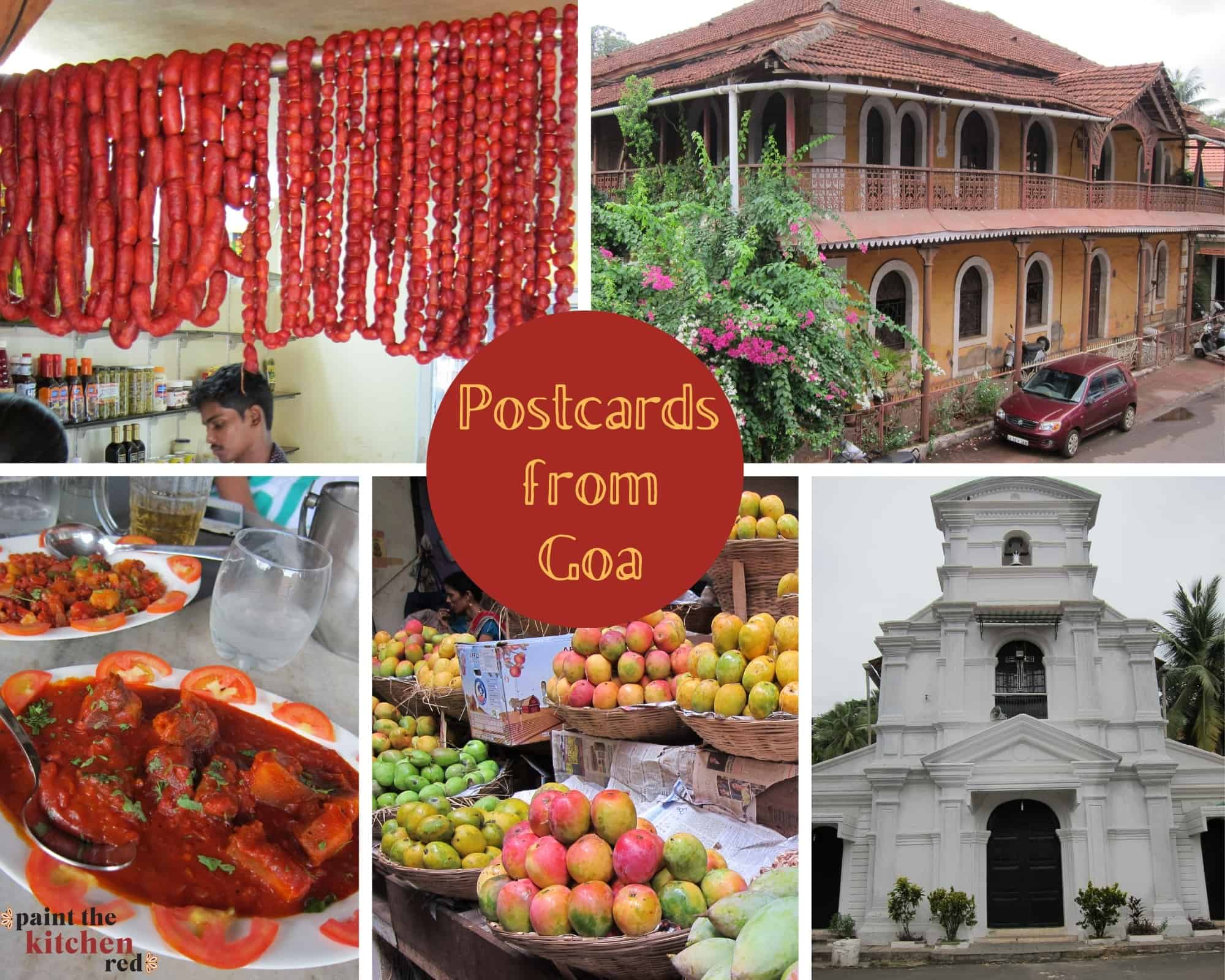 Collage with goa sausages hanging in store, colonial Goan building, Goa sausage curry, mangoes in a market in baskets, white church