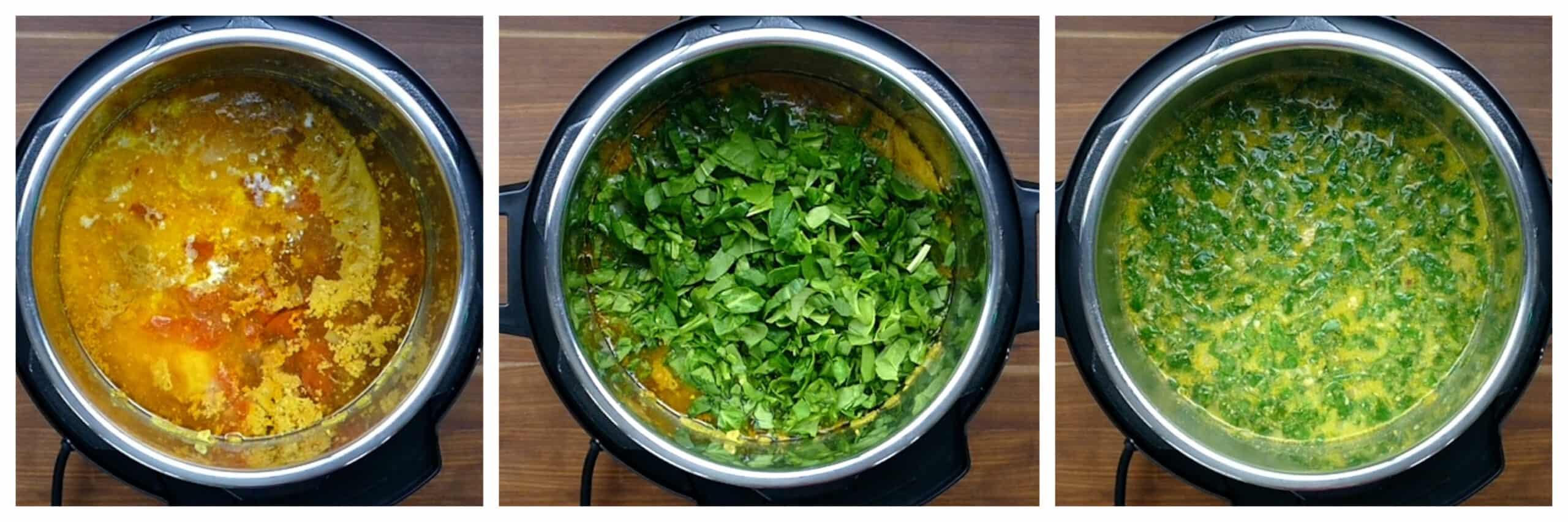 Instant Pot Chicken Curry Soup Instruction Collage - add coconut milk, add spinach, stirred
