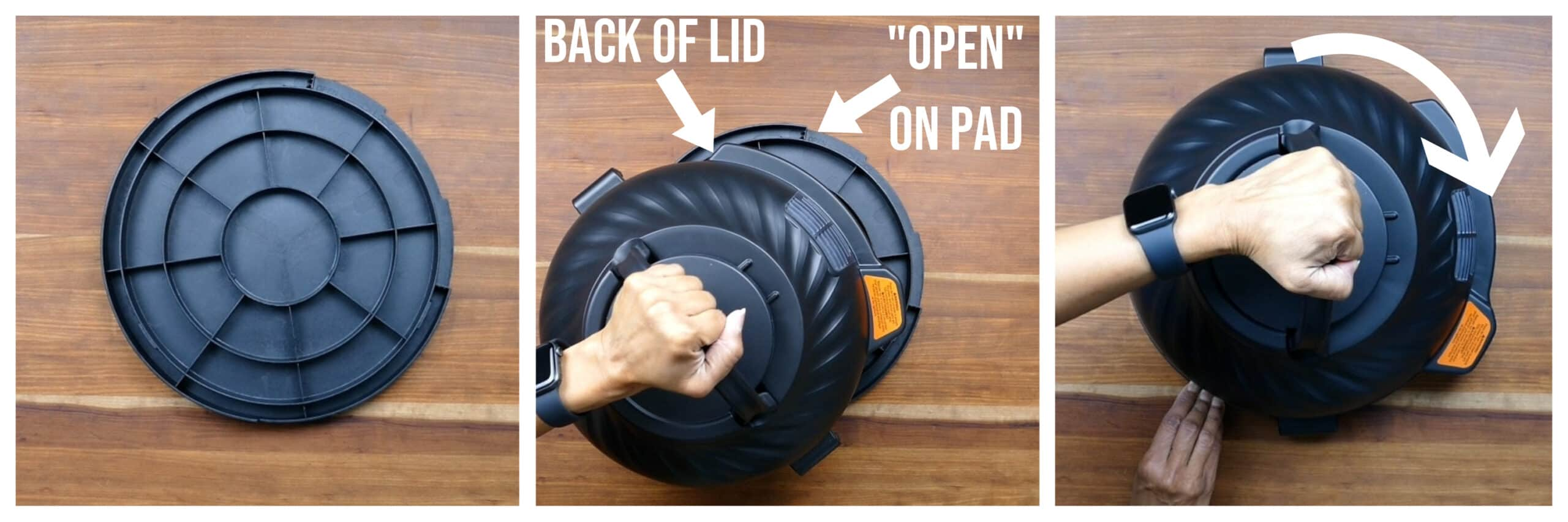 Instant Pot Duo Crisp collage - protective pad on wood counter, arrow pointing to back of lid and