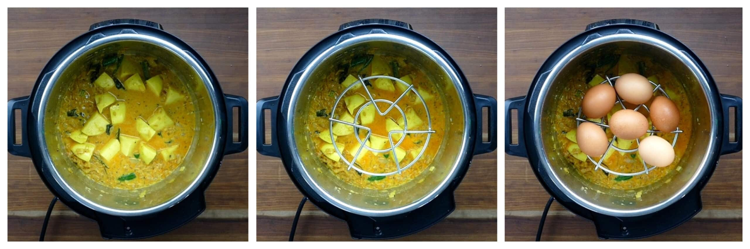 Instant Pot Egg Curry Instructions 4 collage - coconut milk and water added; trivet in curry; 6 brown eggs on trivet