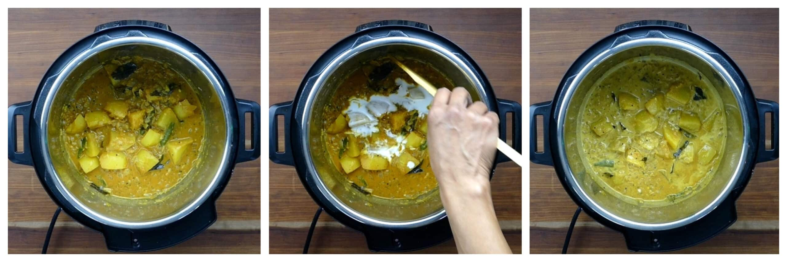 Instant Pot Egg Curry Instructions collage - curry, add coconut milk, stirred