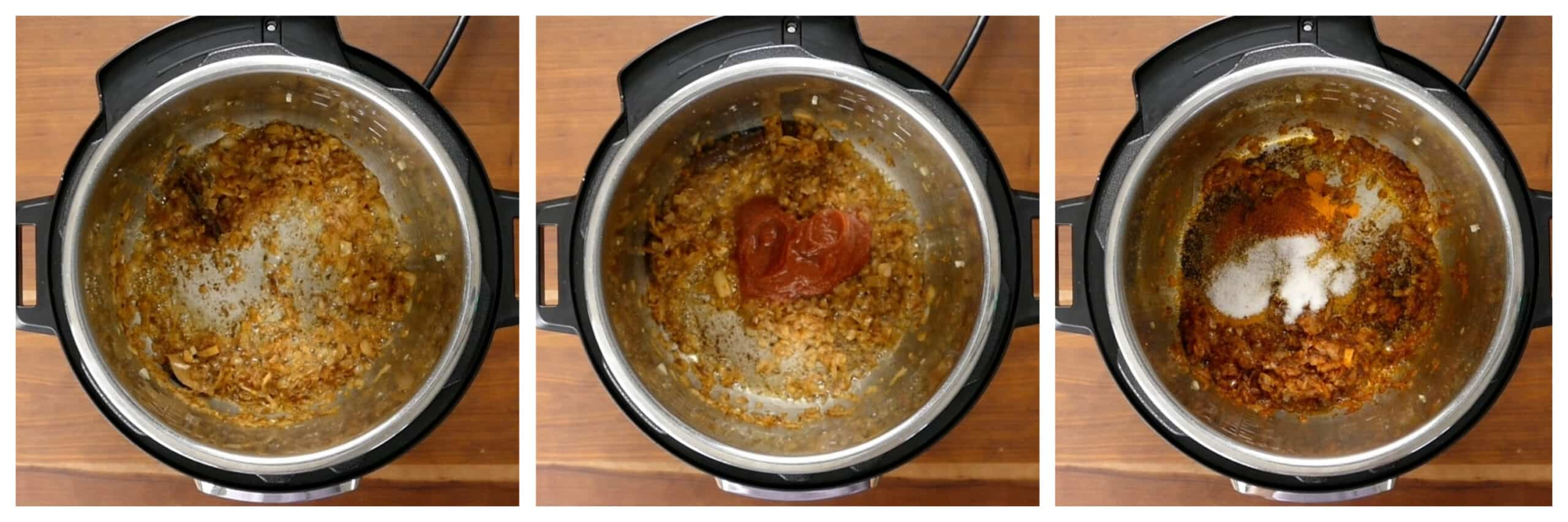 Instant Pot Chicken Curry Instructions saute onions, add tomato, add spices