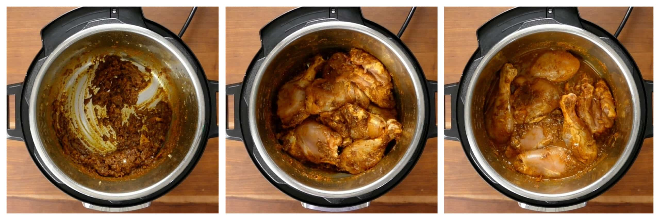 Instant Pot Chicken Curry Instructions - saute spices, chicken, water