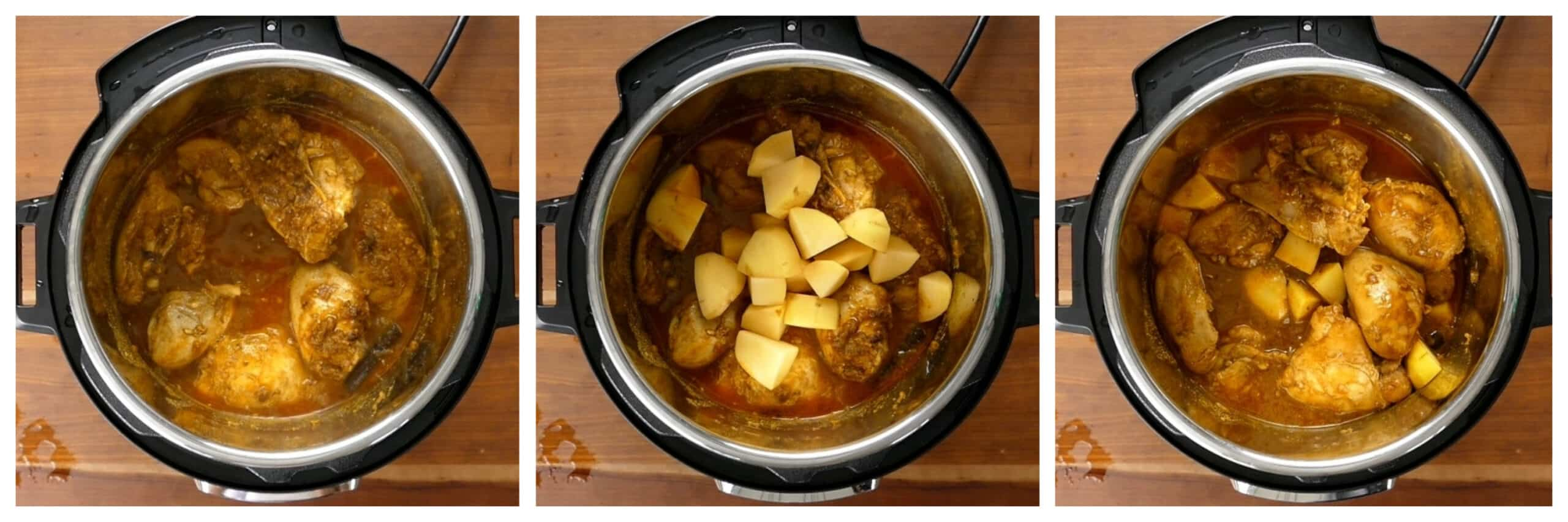 Instant Pot Chicken Curry Instructions cooked chicken, add potatoes, all stirred