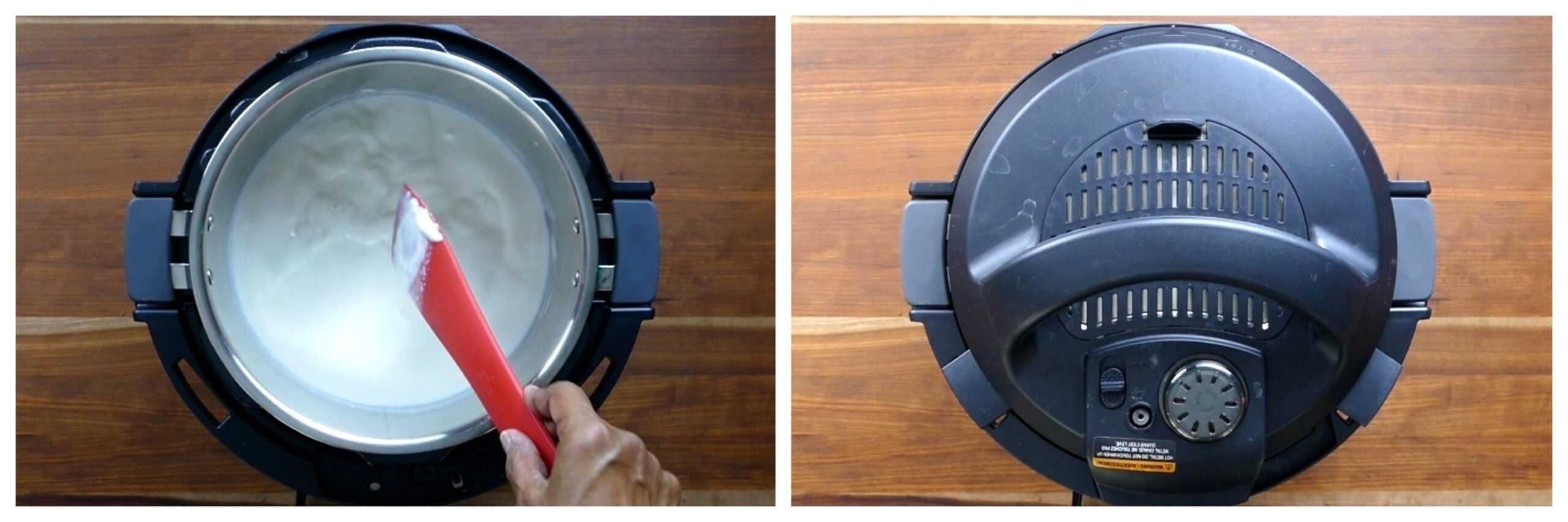 Instant Pot Cold Start Yogurt Instructions collage - stir in yogurt, close lid