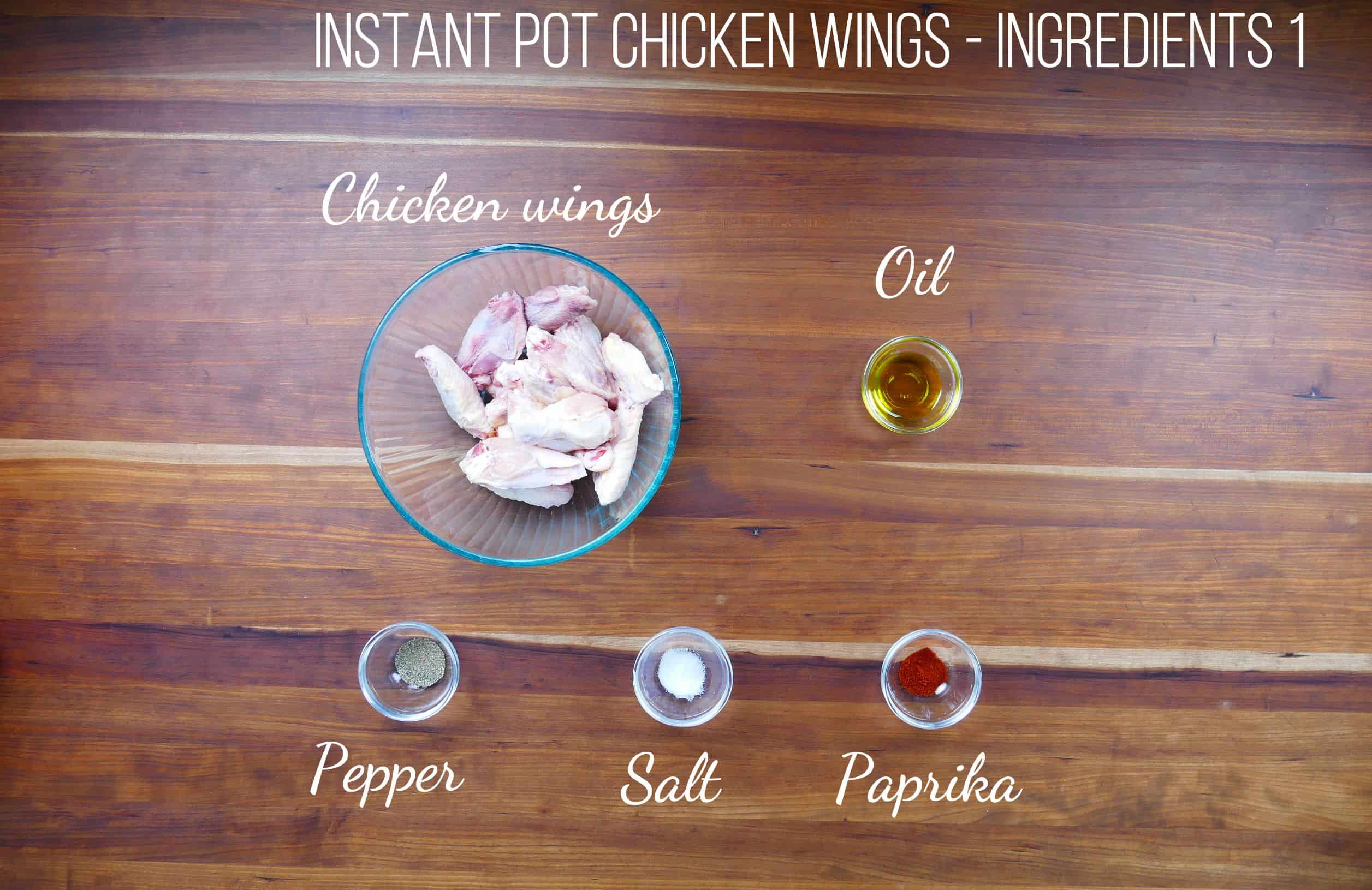 Air Fryer Chicken Wings Ingredients - chicken wings, oil, pepper, salt, paprika