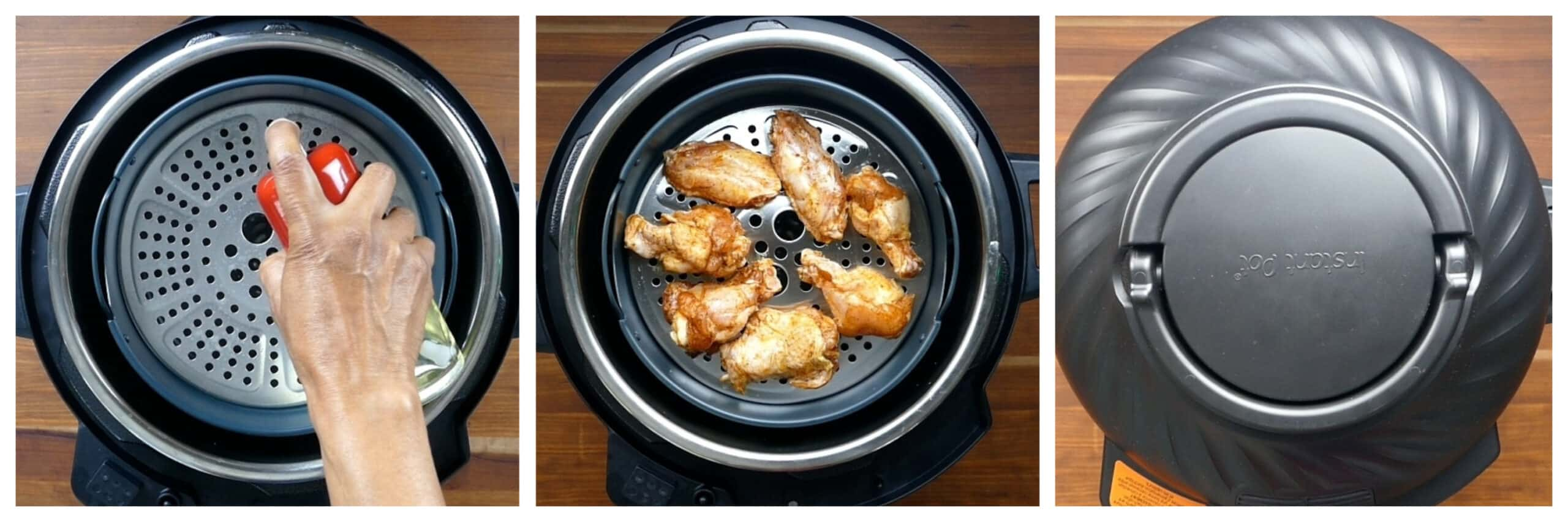 Instant Pot Air Fryer Chicken Wings Instructions collage - rack in instant pot sprayed, wings on rack, lid closed