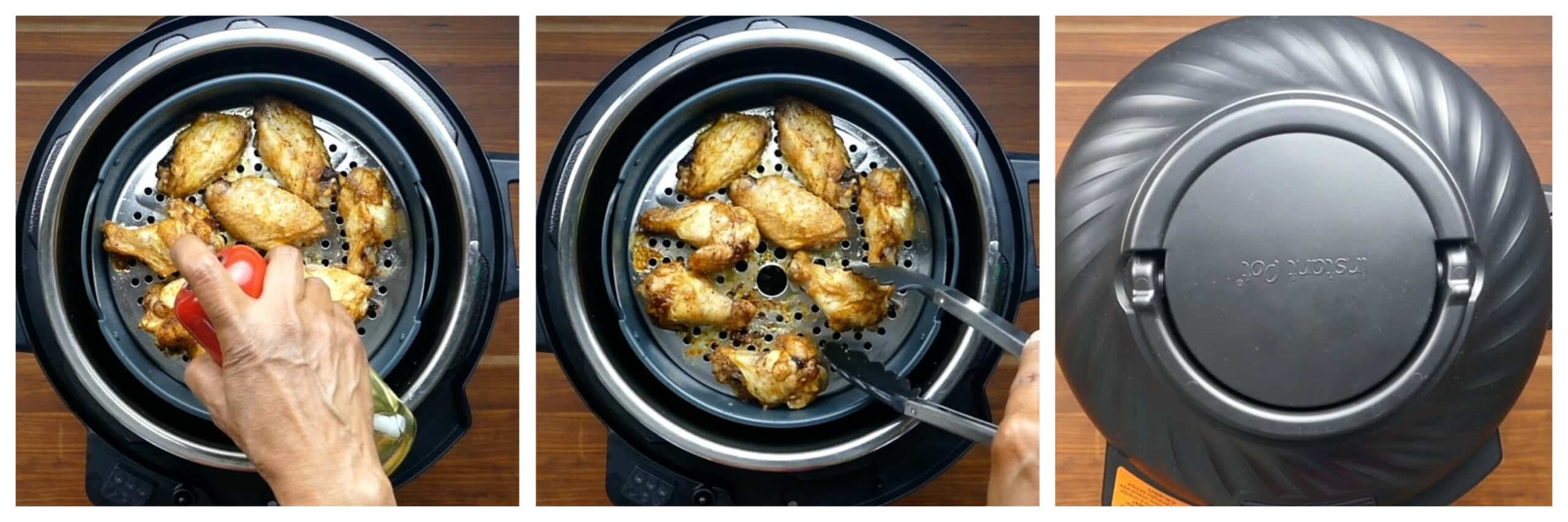 Instant Pot Air Fryer Chicken Wings Instructions collage - wings sprayed, wings turned, lid closed