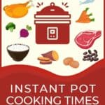 Instant Pot Cooking Times - a detailed guide with images of different foods e.g. eggplant, chicken leg, ham shank, corn.