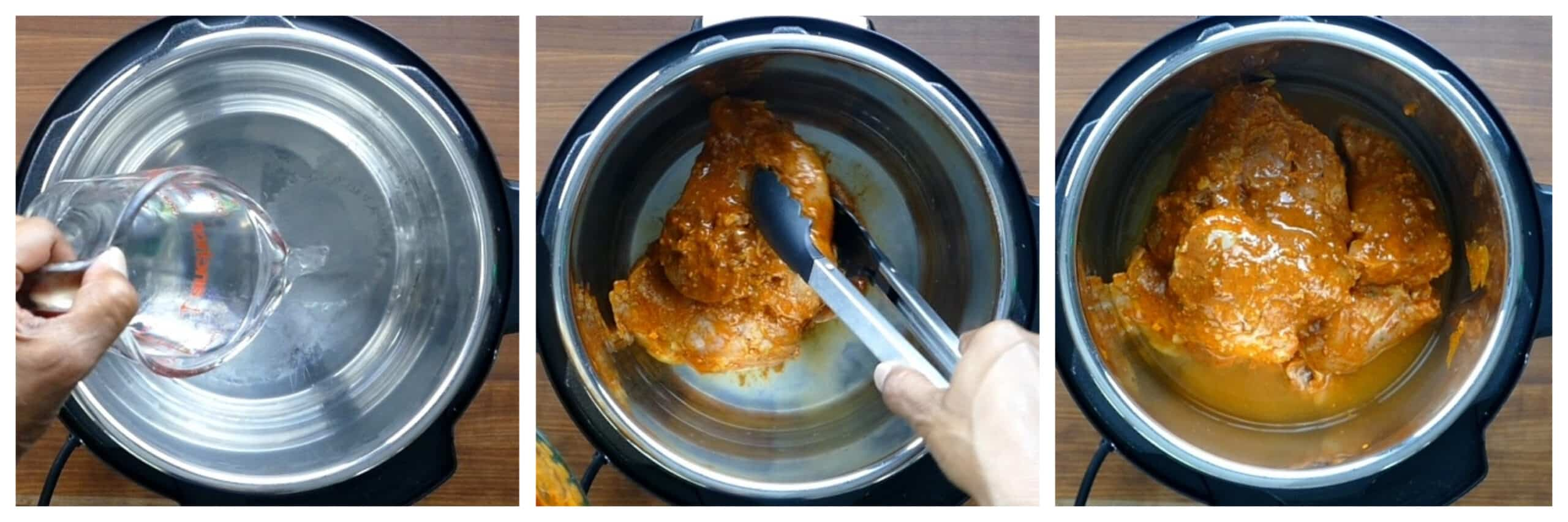 Instant Pot peri peri chicken instructions collage - water in inner pot, chicken being put in, chicken and water in inner pot