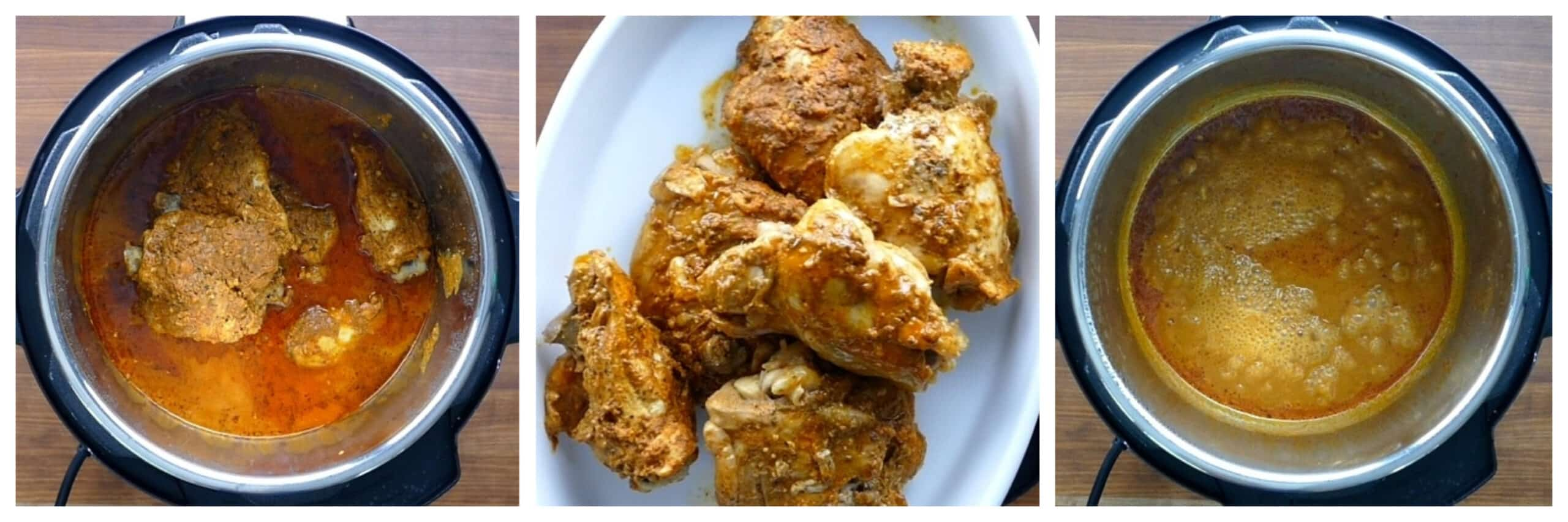 Instant Pot peri peri chicken instructions collage - cooked chicken in inner pot, chicken on platter, sauce being boiled
