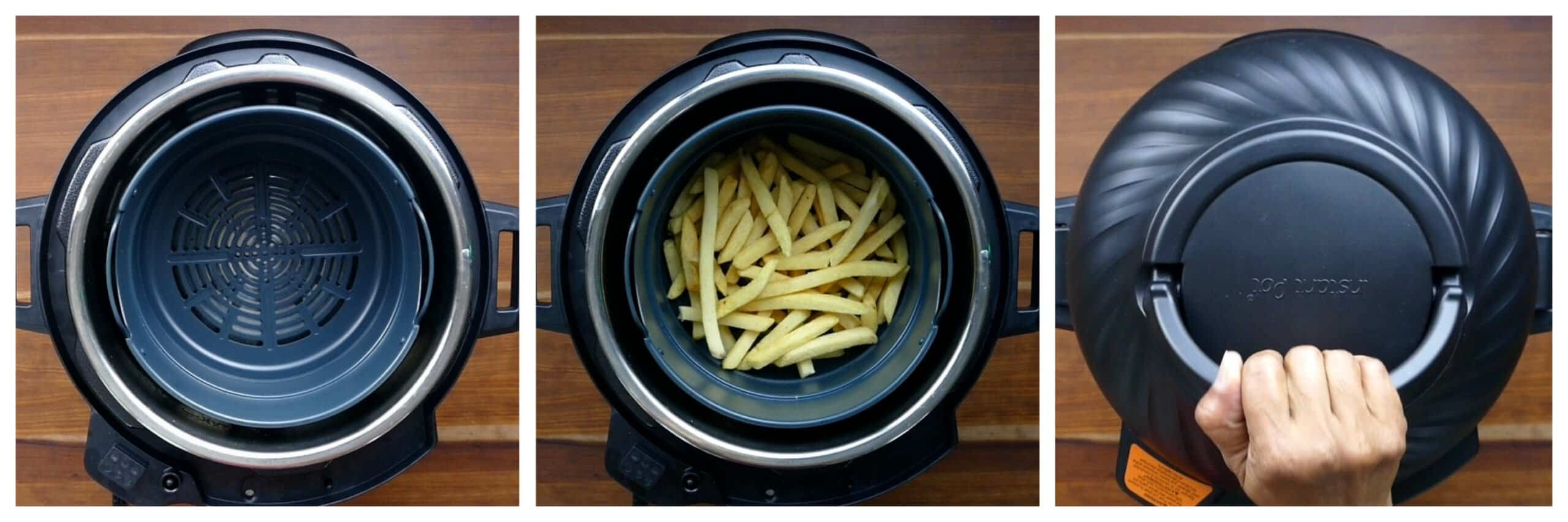 Instant Pot Air Fryer French Fries Instructions collage - empty basket, add fries, close lid