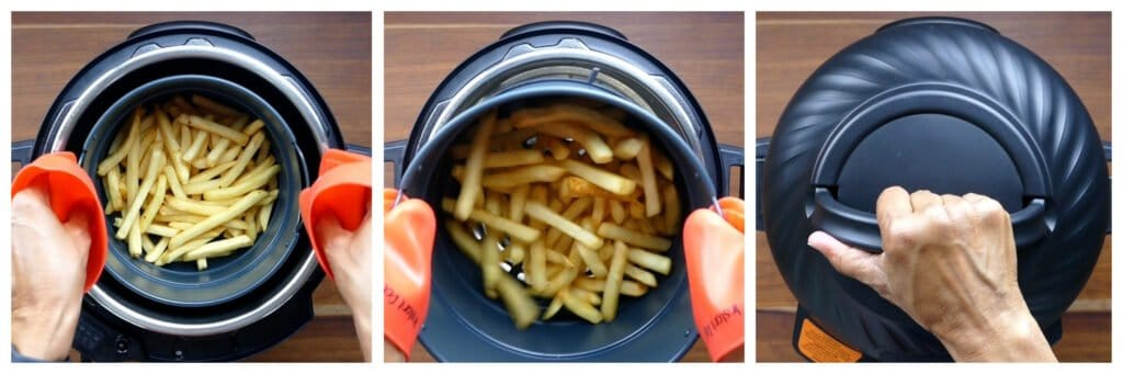 Fries Instructions collage - lift basket, shake basket, cover with air fryer lid
