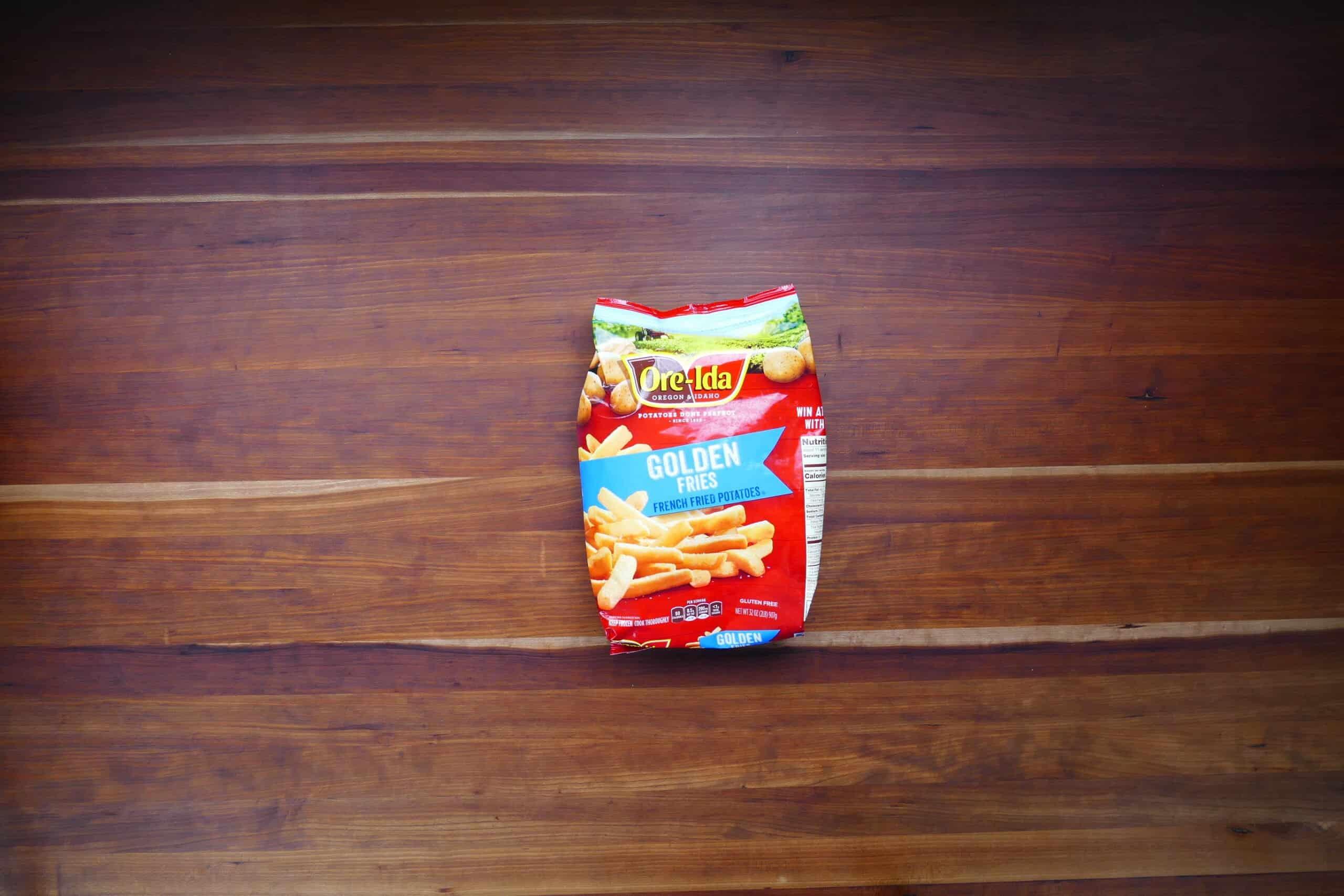 Bag of Ore Ida golden fries french fried potatoes